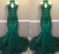 ingrosso vestito da sera del merletto del keyhole-Real Images Green High Neck Keyhole Dress Prom Long with Tulle Ruffles 2019 Elegant Mermaid Lace Appliques Evening Gowns Custom Made