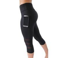 bacaklar toptan satış-Yüksek Bel Elastik Kadınlar Mesh Cep Kırpılmış Pantolon Legging Yeni ile Pantolon Siyah Seksi Spor Spor Capri Pantolon Legging