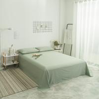 lençóis de algodão verde venda por atacado-Folha de cama Casa Têxtil Verde 3 Pcs Cor Sólida Plana Folhas de Algodão Penteado Cama Macia Lençol de Cama Para O Rei Queen Size