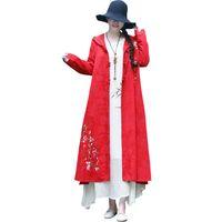 jacquard zanja al por mayor-Trench Coat Vintage mujeres Jacquard bordado con capucha Spring Coat mujeres manga larga bolsillo suelta Cardigan prendas de abrigo larga