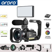 увеличение сенсорного экрана оптовых-Ordro AC5 4K UHD Digital Video Cameras Camcorders FHD 24MP WiFi IPS Touch screen 100X Digtal Zoom 12X Optical DV Mini Camcorders