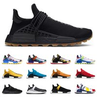 Wholesale pale blue shoes resale online - 2020 nmd human race hu pharrell williams men women running shoes black gum Yellow nerd Pale nude Oreo mens trainers sports sneakers