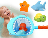 ingrosso sacchetto di nuoto di modo-New Fashion Fishing Toys Set Borsa da rete Pick up DuckFish Kids Classi di nuoto Gioca a Bath Doll Water Spray Bath Toys
