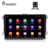 vw polo kamera großhandel-Podofo Android 8.0 Auto Autoradio RDS GPS-Navigation für VW Volkswagen SKODA GOLF POLO PASSAT B5 B6 JETTA Auto-DVD-Player + 4 LED-Kamera