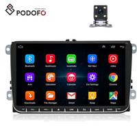 vw coche de navegación dvd al por mayor-Podofo Android 8.0 del coche de Autoradio RDS GPS para VW Volkswagen SKODA GOLF PASSAT B5 B6 POLO JETTA coches reproductor de DVD + 4 de la cámara LED