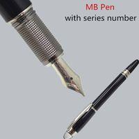 canetas de cristal branco venda por atacado-Luxo Clássico MB Prata Preta Caneta Com Estrela de Cristal Branco Top 4810 Nib Caneta Como Escritório Escrever presente