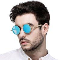 yuvarlak steampunk güneş gözlüğü gözlükleri toptan satış-Mavi Yuvarlak Steampunk Güneş Erkekler Bayanlar Marka Tasarımcısı Gotik Steampunk Gözlük Gözlük Retro Metal Çerçeve Punk Güneş Gözlükleri