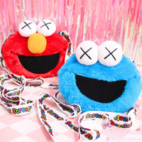 ingrosso bambola carina giapponese-Sacchetto di bambini adorabili Sesame Street Elmo biscotto giapponese strano strano X occhi carino peluche bambola crossbody bag crossback piccola borsa