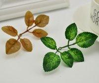 ingrosso fogliame di seta artificiale-Artificial Green Leaves Rose Fiori di giardino Diy corona di foglie di Natale da sposa Bouquet Decoration Silk Fogliame Craft