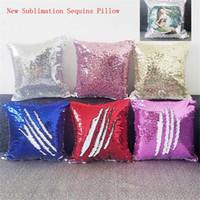boş hediyeler toptan satış-Yeni süblimasyon sihirli pul boş yastık kılıfı sıcak transfer baskı DIY kişiselleştirilmiş özelleştirilmiş hediyeler toptan 6 renkler 40 * 40 CM