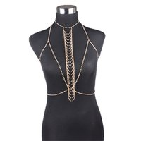 gold taille halskette kette groihandel-Frauen Nachtclub Party Körper Kette Schmuck Bikini Taille Gold Bauch Strandgeschirr Slave Halskette # 8