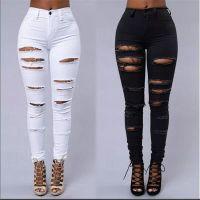 buraco meninas calças venda por atacado-Venda por atacado- As mulheres rasgou jeans cintura alta rasgado clube feminino denim calças buraco joelho skinny lápis jeans destruídos calças para o desgaste do clube da menina