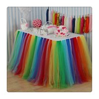 mesas de garoto altas venda por atacado-Colorido Saias Tabela cobertura de pano de mesa para a menina Princess Party Baby Shower Slumber Party casamento Festas Decoração Atacado