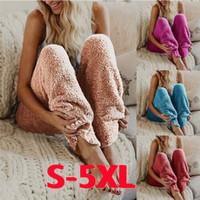 Wholesale legs warmers for sale - Soft Warm Fur Fleece Capris Long Pants Winter Casual Women Solid Color Elastic Waist Cozy Loose Legging Trousers Adult Lounge Sleep Pajama