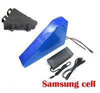 baterías de iones de litio gratis al por mayor-UE EE. UU. Sin impuestos 48V Triangle batería 48V 24AH Ebike batería de litio samsung 3000mah cell 48V Li-ion cargador con bolsa gratis
