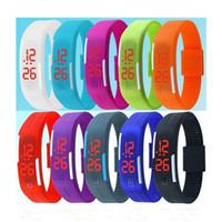 pulseiras de geléia venda por atacado-Diodo emissor de luz da tela de toque digital geléia doce cor relógios esportivos silicone pulseira à prova d 'água retângulo casal relógio de pulso pulseiras 2018