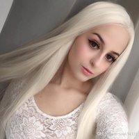 peruk devletleri toptan satış-Avrupa ve Amerika Birleşik Devletleri ön dantel peruk eğilim beyaz uzun düz saç Dantel Ön İnsan HairLace Ön Peruk Remy Saç Ön Koparıp