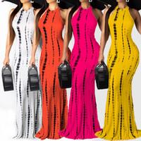 vestidos de moda bohemia al por mayor-Vestido largo estampado Maix para mujer Bodycon Casual sin mangas bohemio O-cuello Slinky Fashion Party Summer Dress Vestidos