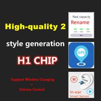 imprensa pessoal venda por atacado-2020 Mais recente alta qualidade chip de H1 Geração 2 fones Rename GPS Bluetooth fones de chips w1 Top Qualidade de Som Com Smart Sensor PK AP2