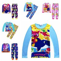 Wholesale autumn winter baby clothing online - 2pcs set INS Kids Baby Shark Long Sleeve Pajamas Set Cartoon Clothing Sets Animal Shark T Shirt Pants Outfits Home Clothing CCA11237 set