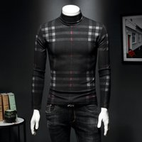 Wholesale flash quick dry t shirts resale online - 2019 men s high collar bottoming shirt plus velvet thick long sleeved T shirt plaid Slim warm gold winter tight sweater