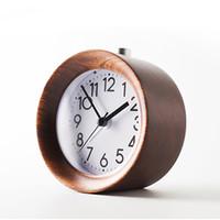 holzuhr für kinder großhandel-Hölzerne Uhr Snooze Nacht Kinder Wecker Rundnadel Hintergrundbeleuchtung Desktop Clock Silent Wood Kein Ticken Despertador