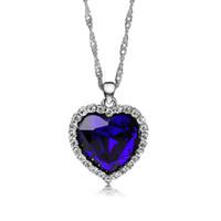 ingrosso choker blu del rhinestone-Collane del pendente del cuore dell'oceano del titanico di DuoTang per le donne Monili della collana del choker del metallo placcato argento di cristallo del Rhinestone blu