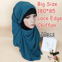 ingrosso big lace scarf-C1 di alta qualità big size bolla chiffon pizzo chiffon hijab 180 * 85 cm donne sciarpa sciarpe scialli dell'involucro 20 pz / lotto