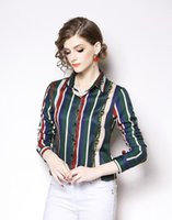 heiße frauen grüne bluse großhandel-INS hot Reverskragen Sommer grün blau rot Gestreifte Blusen mit Blusen elegante Damenhemden OL-Style Einreihiges, schlank geschnittenes Hemd