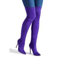 zapatos de diseño de muslo al por mayor-Nuevo 2018 Zapatos de Diseño Botas de Mujer Primavera Otoño Estiramiento Púrpura Tacones Altos Muslo Botas Altas Sexy de Invierno Sobre la Rodilla