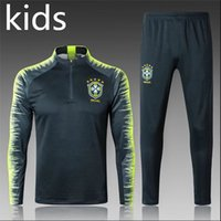 верхушки для детей оптовых-Высочайшее качество Чемпионат мира по футболу 2018 года Бразилия KIDS тренировочный костюм 18-19 детский спортивный костюм из Бразилии