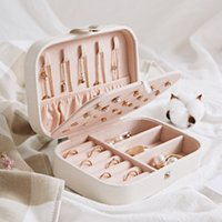 Wholesale box rings for sale - Group buy Protable PU Jewelry Storage Boxes Mini Jewelry Collection Organizer Earrings Necklace Ring Case Travel Accessories Holder