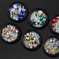 şeffaf kristal taşlar toptan satış-Manikür Aksesuarları Elmas Süs Şeffaf AB Rhinestone Keskin Alt Şekilli Matkap Dekorasyon Kristal Cam Matkap Elf Boncuk Tırnak Aracı
