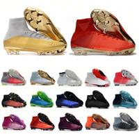 cr7 ayakkabı beyaz toptan satış-Erkek kadın Beyaz Altın Futbol Cleats Mercurial Superfly CR7 Quinto Triunfo FG CR7 Futbol Ayakkabıları Orijinal Futbol Çizmeler 35-45