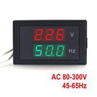 voltímetro digital dual al por mayor-AC 80-300.0V 45-65HZ medidor de frecuencia dual con ajuste de frecuencia Medición de voltaje del voltímetro Hertz Medidor / Hz con Red Led
