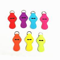 eingewickelte kette großhandel-Leere Schlüssel Lily Mini Neopren Keychain Solid Color Chapstick Cover Holder Schlüsselanhänger Lip Gross Chapsticks Wrap Schlüsselanhänger Ring Ärmel Charms Geschenke