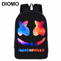 erkekler için kafatası sırt çantaları toptan satış-DIOMO Idol Marshmello DJ Maskesi Kask Başkanı Portre Okul Sırt Çantası Kafatası Marvel Hediye Erkek Kız Genç için çocuk Kitap Çantası Y190601