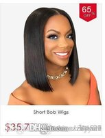 Wholesale brazilian human hair wig middle part for sale - Group buy Short Front Human Hair Wigs Brazilian Bob Wig With Pre Plucked Hairline Wig For Black Women Remy Hair Middle Part