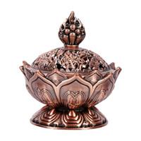 держатель для лотоса оптовых-Chinese Buddha Alloy Incense Burner Lotus Flower Incense Holder Handmade Censer for Buddhist Home Office Decoration 2 Colors
