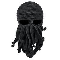 sombreros de pulpo gorras al por mayor-Máscara facial de invierno Snowboard Pulpo Lana Pasamontañas Sombrero gracioso Sombrero de gorro cálido Invierno