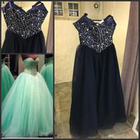 zemin uzunluğu balo elbisesi nane toptan satış-Tül Örgün Balo Elbise Stil 1 Moda Nane Yeşil Quinceanera elbise Balo Sevgiliye Boncuklu Kristal Dantel-up Kat Uzunluk Custom Made