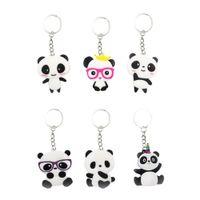kız çocuklar için anahtarlıklar toptan satış-6 adet Anahtarlıklar Panda Şekilli PVC Çanta Anahtarlık Anahtarlık Asılı Süsleme Erkek Çocuklar Kızlar için
