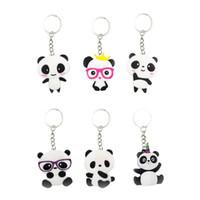 keychains para meninas venda por atacado-6 pcs Chaveiros Panda Em Forma de Chaveiro PVC Bolsa Chaveiro Ornamento Pendurado para Meninos Das Meninas Dos Miúdos