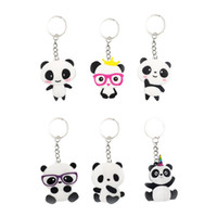 llaveros para niñas al por mayor-6 unids llaveros panda en forma de PVC monedero llavero llavero colgante adorno para niños niñas niños