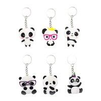 junge schlüsselanhänger großhandel-6pcs Keychains Panda Shaped PVC-Geldbeutel Keychain Schlüsselring-hängende Verzierung für Jungen-Kind-Mädchen