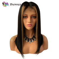 Wholesale highlighted lace front wigs resale online - Ombre Straight Short Bob Lace Front Wig Honey Blonde Highlight With Natural Black Color Human Hair Wigs For Black Women Y190713