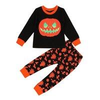 ingrosso indumenti da notte in cotone per bambini-Ragazzi di Halloween vestiti zucca Stampa LJJK1862 pigiameria Top pantaloni lunghi dei pigiami dei bambini vestiti dei ragazzi Cotton Outfit Pajamas Set Halloween