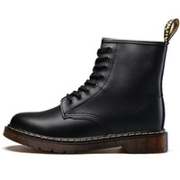 Wholesale mens leather calf boots resale online - Hot Brand Men s Boots Martens Leather Winter Warm Shoes Motorcycle Mens Ankle Boot Doc Martins Fur Men Oxfords Shoes