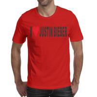 sticker coeur orange achat en gros de-J'aime Justin Bieber Stickers Coeur Imprimé Hommes Chemises Mode Ras Du Cou À Manches Courtes Tees 7 Couleurs