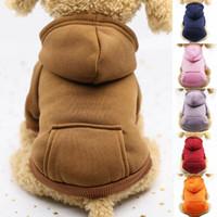 толстовки с капюшоном оранжевого цвета оптовых-Pet Dog Толстовка Куртка пальто щенок Cat Winter Warm Solid Color Толстовка с капюшоном темно-синий Красный вино Розовый Оранжевый